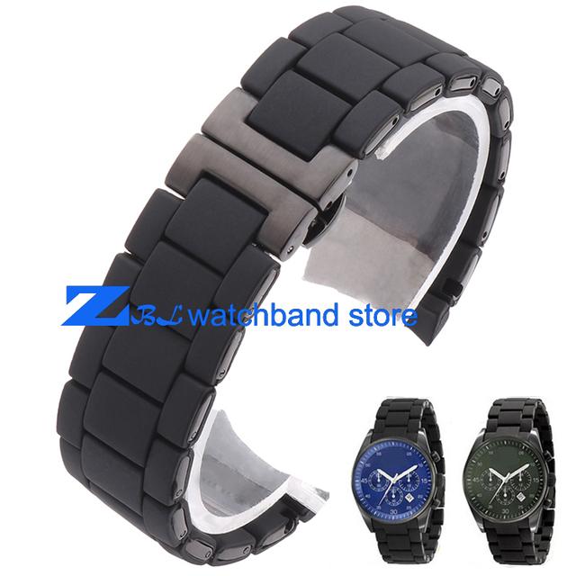 Correa de caucho de silicona pulsera pulsera negro acero negro de gel de sílice para AR5921 reloj AR5922 hombre 23mm mujer 20mm banda de la correa