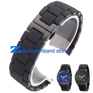 Rubber watchband silicone wristband bracelet black steel black silica gel for AR5921 AR5922 man 23mm woman 20mm watch strap band