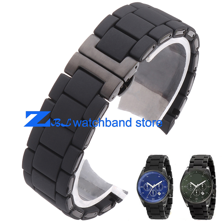 Rubber watchband silicone wristband bracelet black steel black silica gel for AR5921 AR5922 man 23mm woman 20mm watch strap band