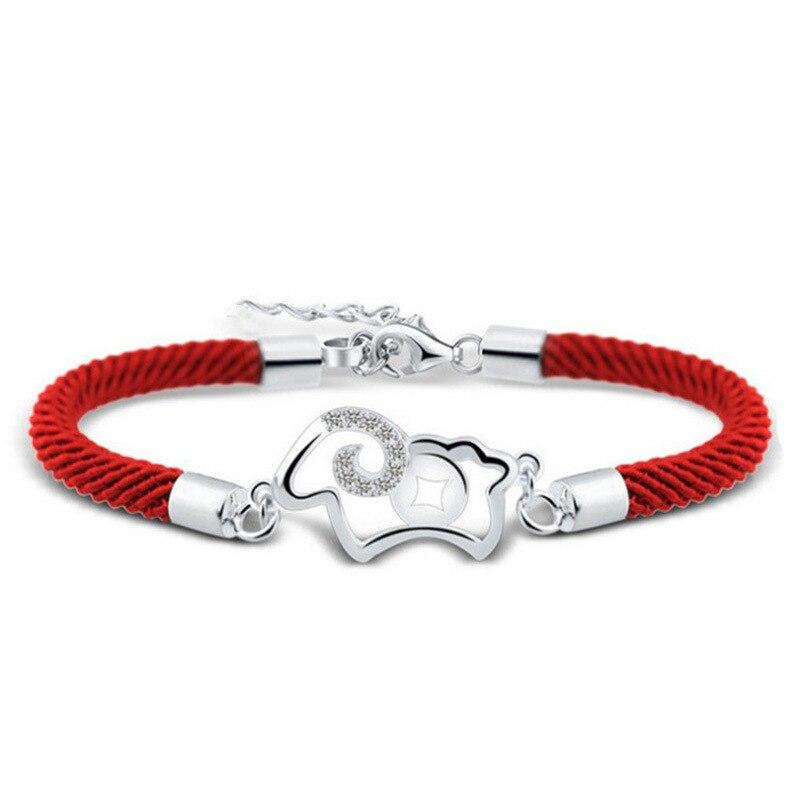 Модный Ювелирный серебряный браслет, женский полый браслет с овечкой и животными, красный браслет на завязках
