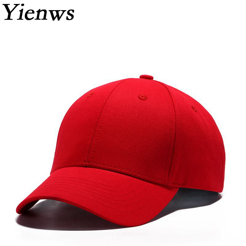 Yienws Brand Women Solid Color Red Baseball Cap Wholesale Cotton Summer Sun Hat For Women Curved Black Baseball Cap YIC503 fashion solid color baseball cap for men and women