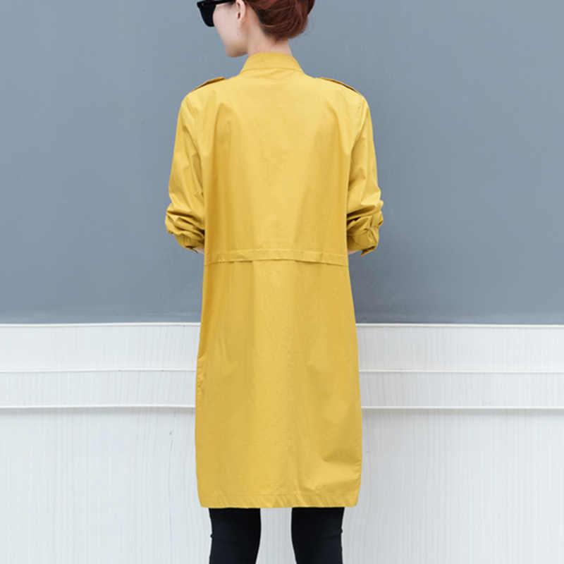Весна для женщин Новинка 2019 года большой размеры женское шифоновое свободное лоскутное платье с длинным рукавом одноцветное цвет карман ветровка на молнии Дикий Тонкий ветровка пальто femalel98