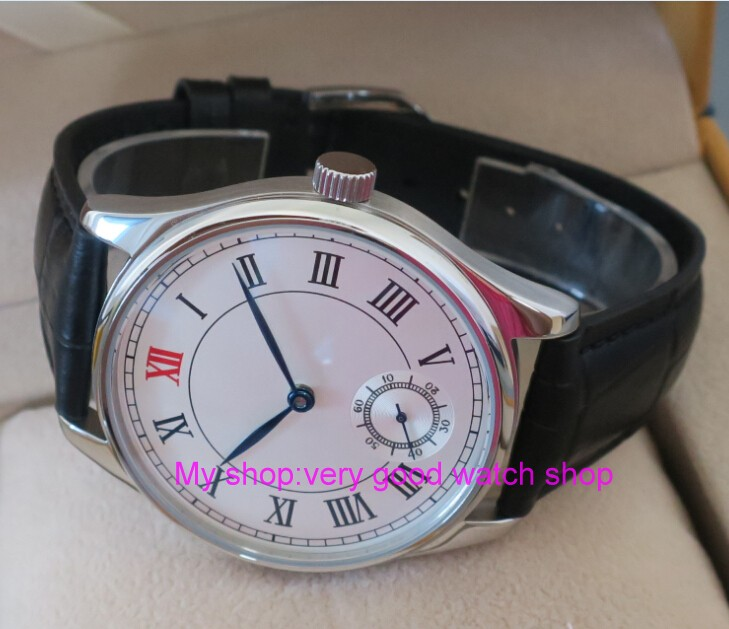 44mm PARNIS White dial Asian 6498 Mechanical Hand Wind movement men's watch Mechanical watches Leather Watchband 196 44mm parnis white dial asian 6498 3621 mechanical hand wind movement men s watch mechanical watches rnm9