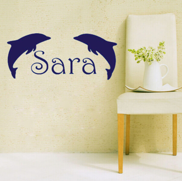 Personalized Name Customer Name Dolphin Text Wall Art Sticker Say ...