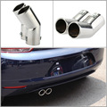 Car Tail Pipes Replacement Car Style Dual Pipe Stainless Steel Exhaust Tail Pipes Muffler Tips for VW Golf 4 Bora Jetta