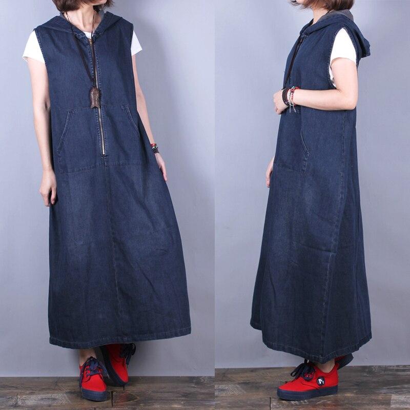 Kadın Giyim'ten Elbiseler'de Ücretsiz Kargo 2019 Yeni Moda Uzun Orta buzağı Denim Kolsuz Kadın Kot Elbiseler Cepler Ile Artı Boyutu A line Kapşonlu elbiseler'da  Grup 1