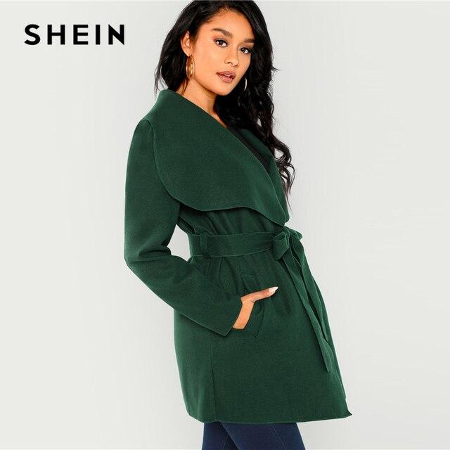 8b71e831fa SHEIN Green Waterfall Collar Self Belted Coat Elegant Long Sleeve Pocket  Long Trench Coats Women Winter
