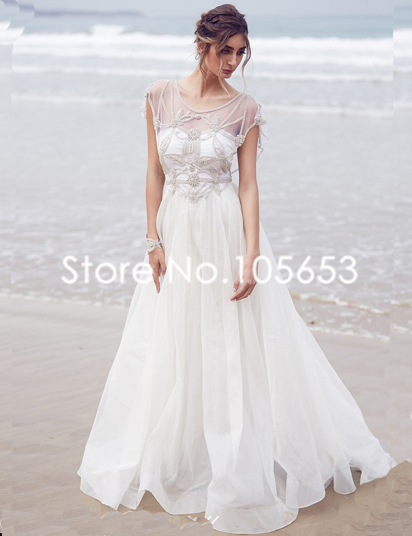 Buy simple long chiffon rhinstone beach for Short sleeves wedding dress
