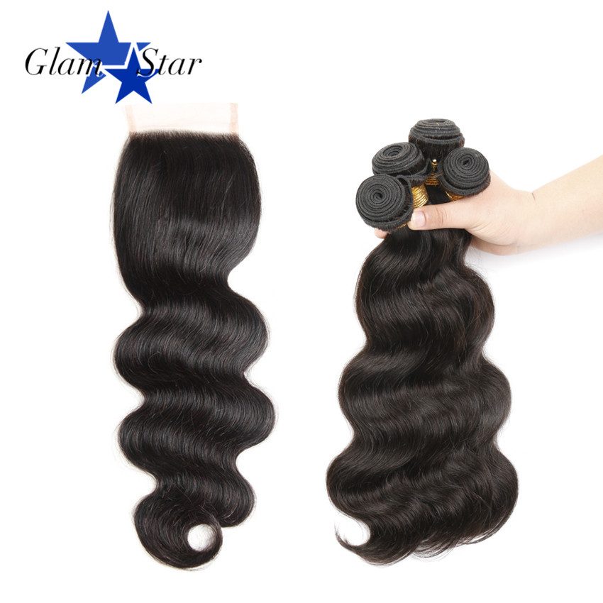 Glam Star Hair 4 Bundles Brazilian Human Hair Body Wave With Closure 4x4 Free Part Lace Closure 8inch to 36inch Remy Hair