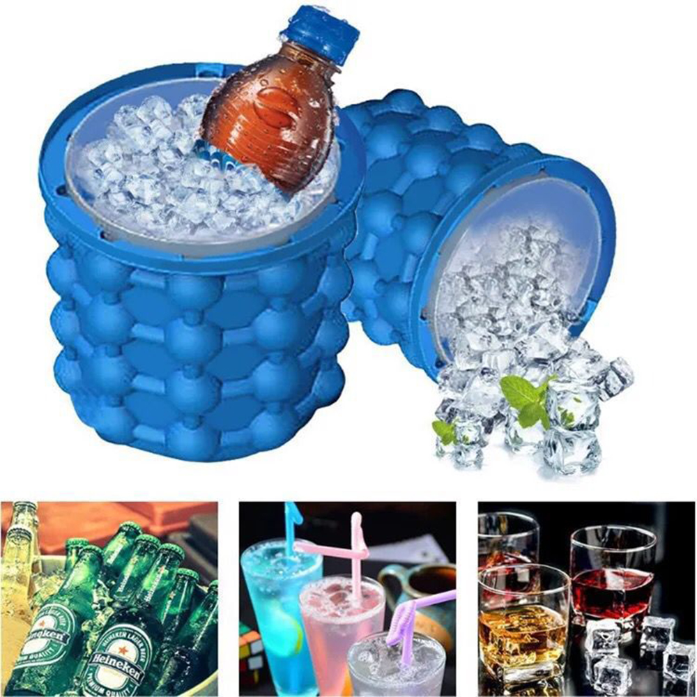 2 in 1 Silicone Ice Cube Maker Portable Bucket Wine Ice Cooler Beer Cabinet Space Saving Kitchen Tools Drinking Whiskey Freeze(China)