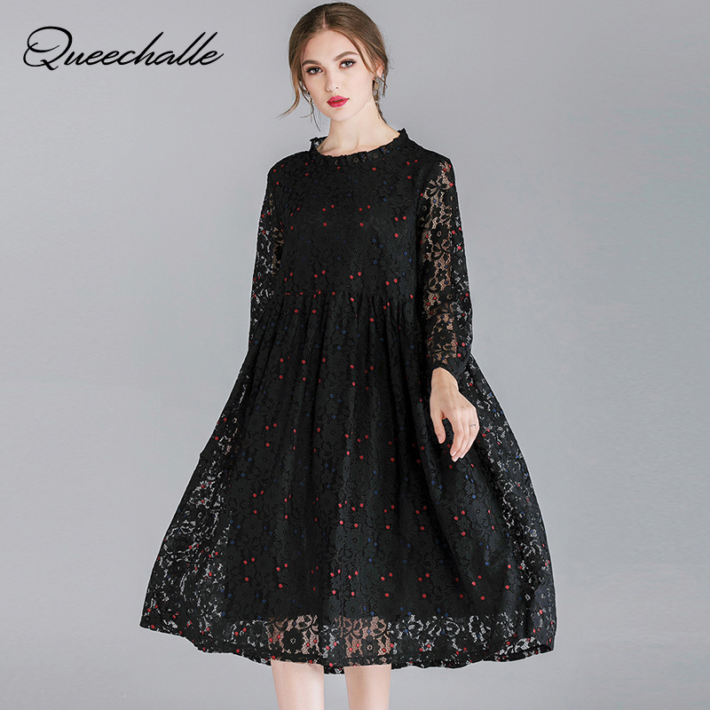 ff8395d202f Queechalle Green Red Black Lace Dress for Women Three Quarter Hollow ...