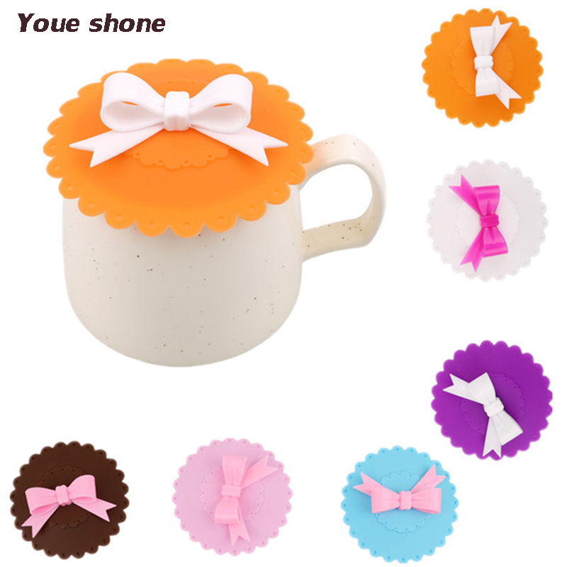 Cute Bowknot Anti-Dust Silicone Lids For Tea Cup Cover Coffee Caneca Xicara Tea Cup Vasos De Plastico Suction Seal Cap Gifts