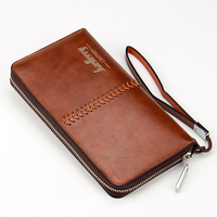 High Quality 2016 Vintage Business Hand Bag Men Clutch Bags Long PU Leather Wallet Luxury Brand