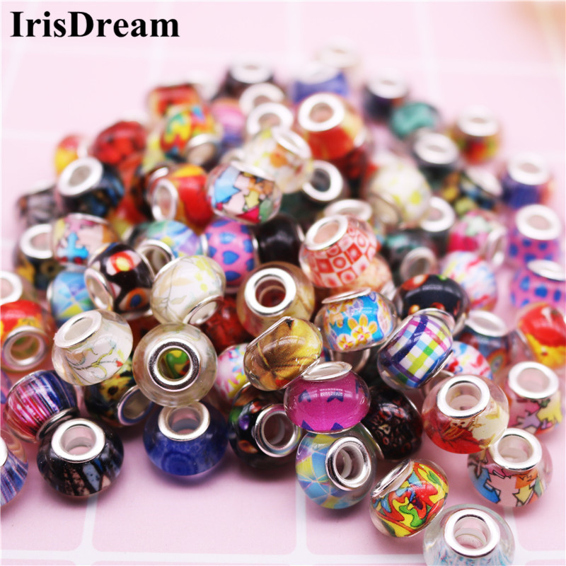 50Pcs/Lot Big Hole Mixed Color Murano Loose Resin Beads Charms Fit DIY European Pandora Bracelet Necklace For DIY Jewelry Gift