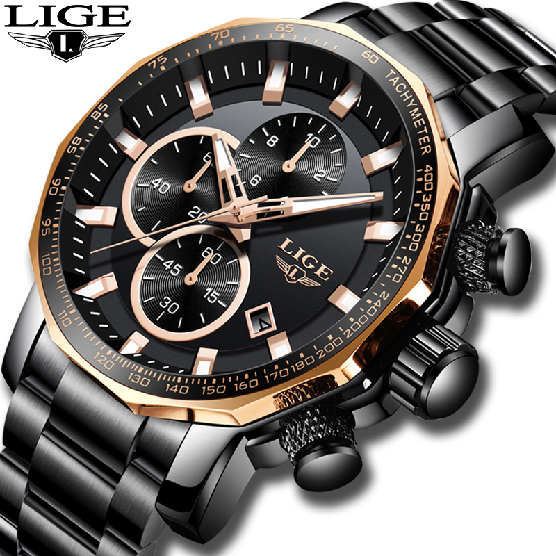 LIGE New Mens Watches Top Brand Luxury Full Steel Sport Chronograph Quartz Clock Waterproof Big Dial