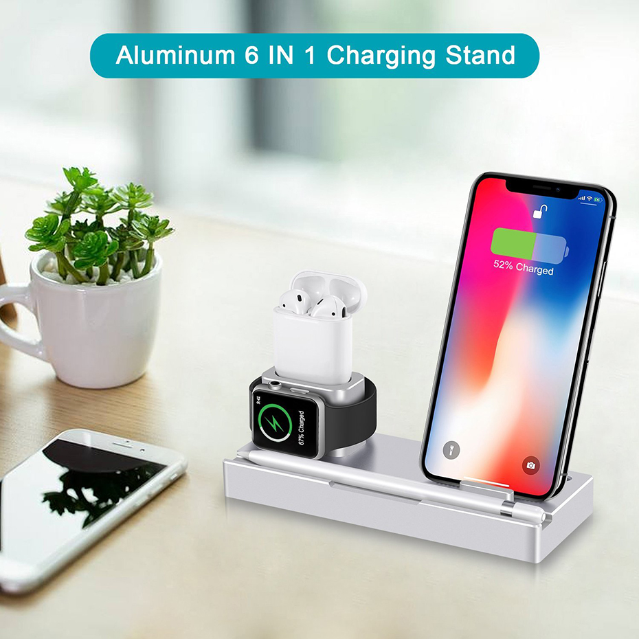 Aluminium Alloy 4 In 1 Night Table Stand For Apple Watch Airpods Apple Pencil 5W Wireless Charger Stand For Iphone 8 Iphone X (2)