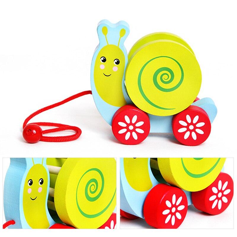 Krachtig 2018 Nieuwe Stijl Kids Kleurrijke Houten Slak Pull Winkelwagen Speelgoed Baby Educatief Speelgoed Kinderen Houten Blokken Interactief Speelgoed