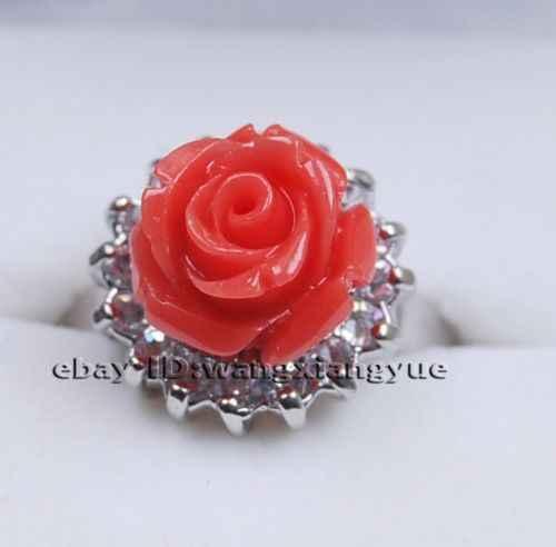 จัดส่งฟรี> >>>เสน่ห์!แฟชั่นมือแกะสลักดอกไม้สีชมพูคอรัลแหวน