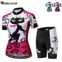 WEIMOSTAR women's cycling Jersey cat short sleeve set quick dry ropa ciclismo bike bicycle clothing Mountain biking shirt Summer