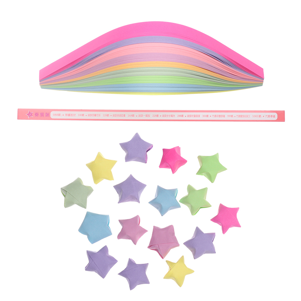 140pcs/lot 9 Mixed Color Set Lucky Wish Star Paper Strips DIY Origami Folding Gift Craft Paper Decor