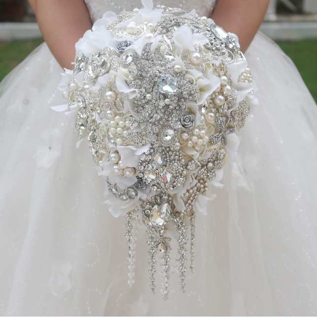 White Hydrangea Drop Brooch Bouquet Custom Wedding Bridal Bouquets