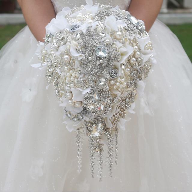 White Hydrangea Drop Brooch Bouquet Custom Wedding Bridal Bouquets Crystal Teardrop Style Bride S