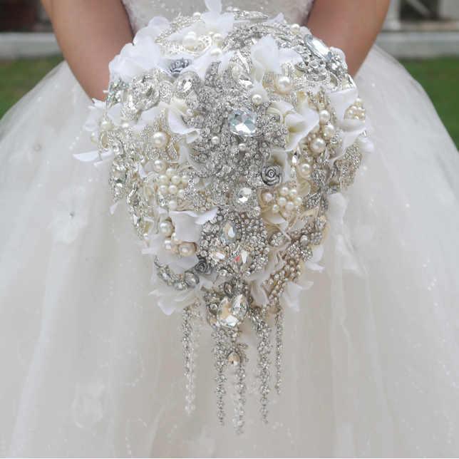 White Hydrangea Drop Brooch Bouquet Custom Wedding Bridal Bouquets