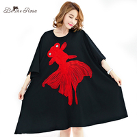 BelineRosa 2017 Plus Size Dresses Women's Big Fish Embroidery Big Sizes Ball Gown Dresses Women 5XL 6XL 7XL TYW00304