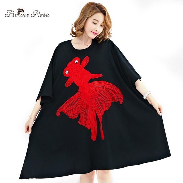 1da66f5e47 Belinerosa 2017 plus rozmiar sukienki damskie duże ryby hafty duże rozmiary  suknia balowa suknie kobiety 5xl