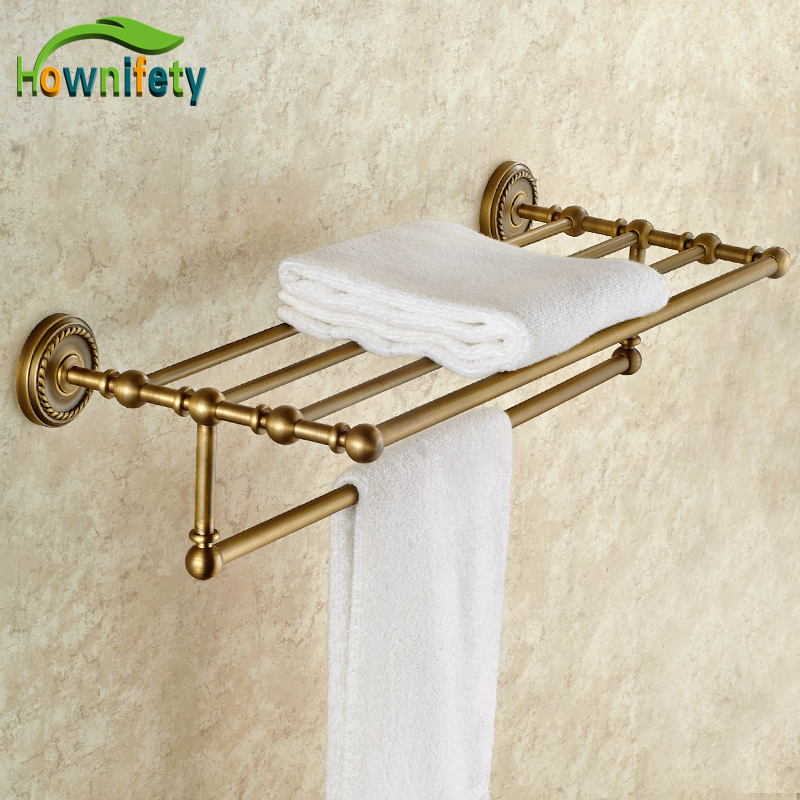 Antique Brass Bathroom Towel Shelf Towel Rack Towel Holder Bathroom Towel Accessories Solid Brass Wall Mounted foldable antique copper bath towel rack wall mount active bathroom towel holder double towel shelf bathroom accessories sj6