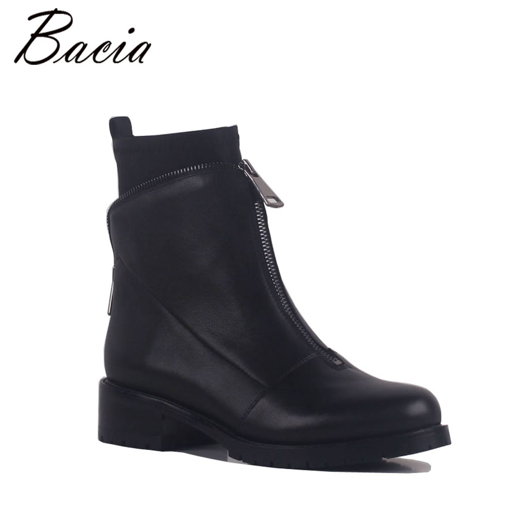 Bacia Black Leather + Cloth Boots Two Layer with Zipper High Quality Fashion Ankle Boots Short Plush Inside Shoes MB028 bacia genuine leather boots short plush women shoes black simple style ankle boots with zipper handmade high quality shoes vd021