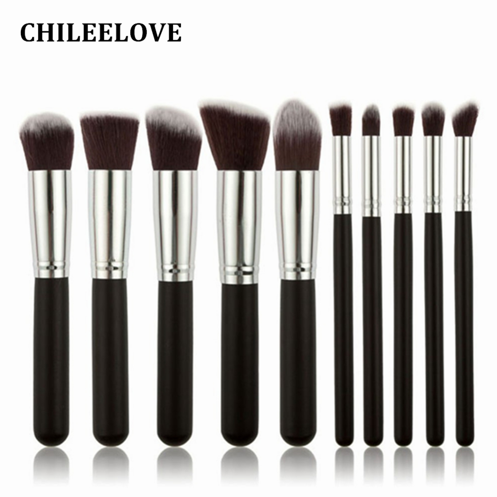 CHILEELOVE 10 Piece Pce/Set Base Cosmetics Makeover Makeup Brushes Kit For Women Foundation Blending Blush Powder Eyeshadow Tool 2017 new 6 pcs set beauty makeup brush set professional cosmetics tool kit foundation blending blush eyeshadow blusher brushes