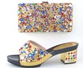 Italian Shoes With Matching Bags African Women Sandal Colorful Rhinestones Decoration Dress Shoes and Bag Set Size 37-43 MOH1-33