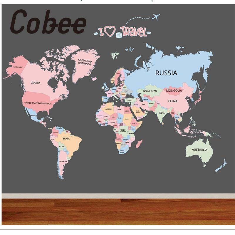 Cobee Children Wall Sticker Bedroom Baby Room Educational World Map Classroom Decor Colorful English Letter world map wall sticker