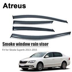 Atreus 4 Uds para Skoda Superb 2013 2014 2015 accesorios para coche ventana de humo de la puerta visera de lluvia protección de deflectores de viento