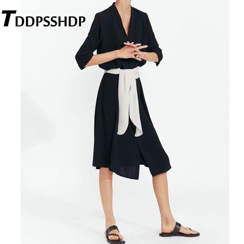 Black Color Women Dress With White Waist Strap Harajuku One Piece V Neck Single Breasted Kawaii Female Dresses