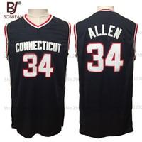 BONJEAN Cheap Ray Allen 34 Connecticut Huskies College Basketball Jerseys Throwback Sewn Deep Blue Shirts