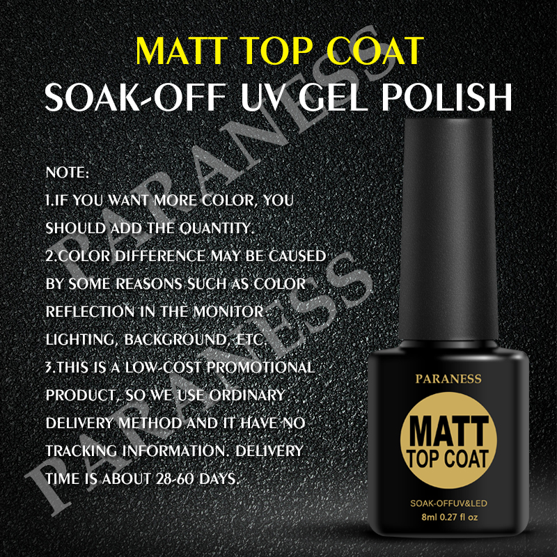 Paraness Soak Off Matte Gel Nail Polish Cleaning Top Coat Lacquer Matt Transpa Color Uv In From Beauty