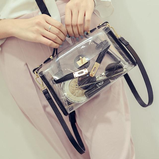 SFG MAISON Femmes PVC Embrayage Sacs 2017 Mode Transparent Sac Bandoulière Femme Sacs À Main Sac De Plage Fourre-Tout Dames Épaule Sac