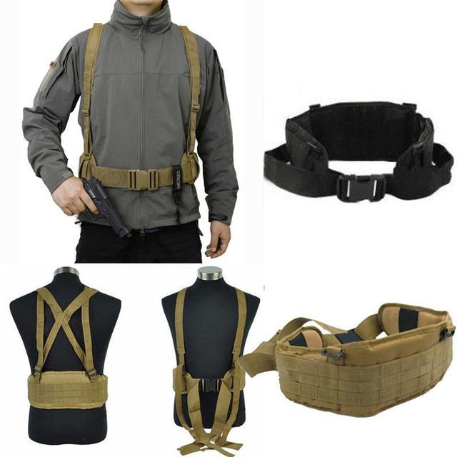 a977f1dee71 Ao ar livre Molle Airsoft Militar Cintura Acolchoado Cinto Com H-em forma  Suspensório Para