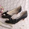 Custom Handmade 2016 Women Black Low Heel Shoes Party Open Toe 4CM
