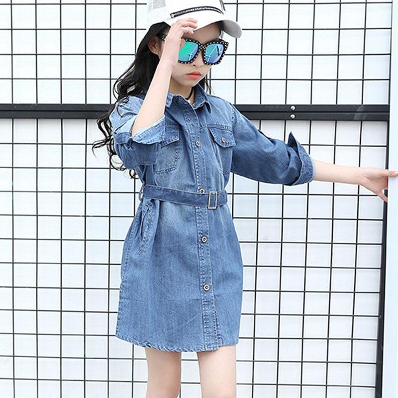 2017 spring autumn denim children girl dress long sleeve sashes blue pockets jeans dresses for little big girls coats dress