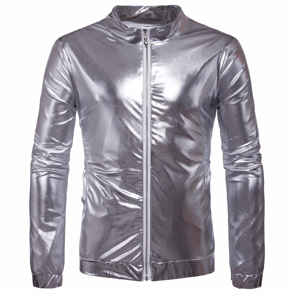 2017 New Europe American Nightclub Glossy Men Jacket Male Fashin Slim Spring Autumn Hip hop punk Leather Jackets Gold Silver