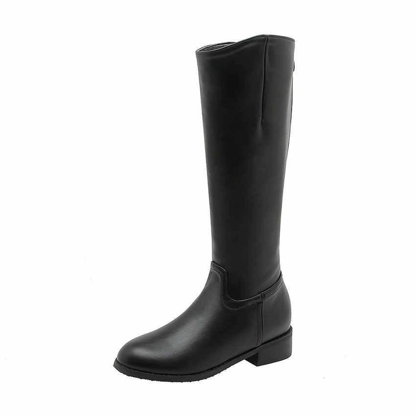 QUTAA 2020 Rahat Yuvarlak Ayak Platformu Fermuar Orta Buzağı Çizmeler PU Deri Uzun Çizmeler Kare Düşük Topuk Moda Bayan Ayakkabıları boyutu 34-43