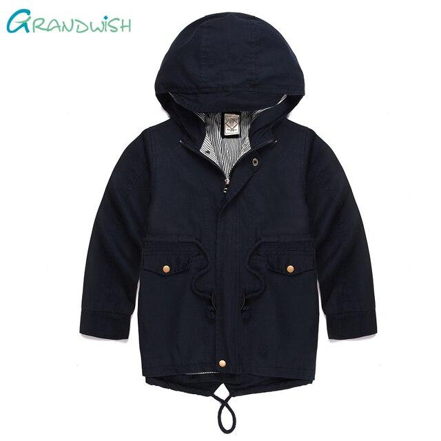 Grandwish/Обувь для мальчиков одноцветное Весенняя верхняя одежда девушки Тренч с капюшоном куртка для мальчиков детские осенние Непродуваемая одежда От 3 до 10 лет, sc944