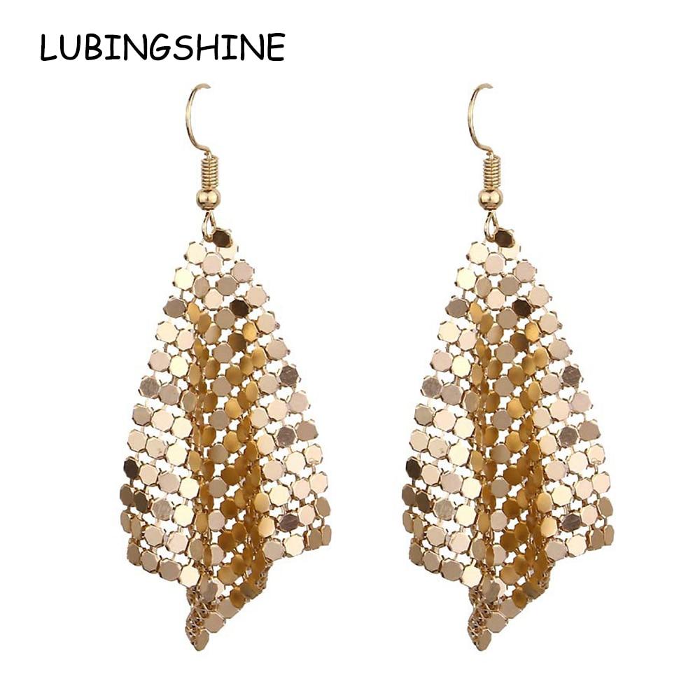 LUBINGSHINE Femal Exaggerated Metal Sequins Drop Earrings Romantic Jewelry For Women Dangle Earrings Engagement Bijouterie Gift