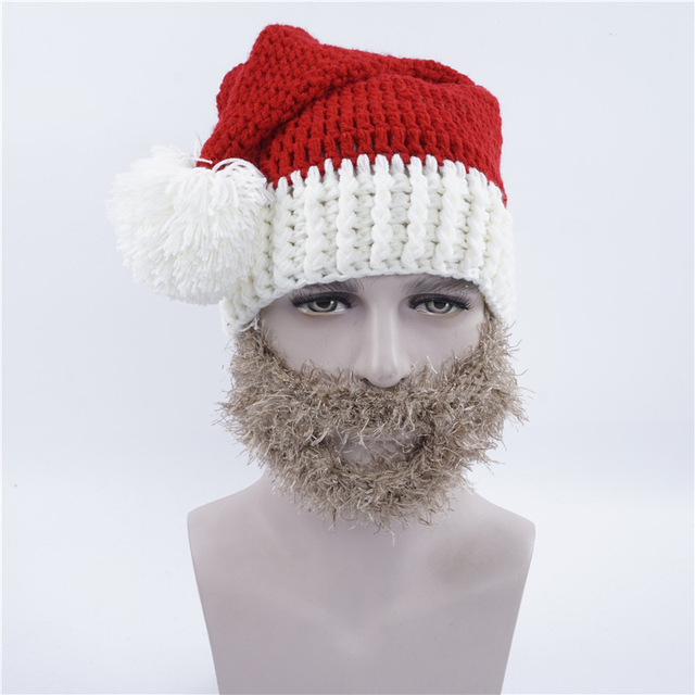 Hobo Mad Creative Beard Novelty Handmade Knitting Wool Funny Hat Christmas Party Santa Claus Hand-Knitted Cap Unisex Gift