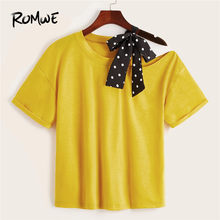ROMWE Contrast Polka Dot Tape Tied Knot Cut Out Shoulder Yellow Women Tees Chic High Street Asymmetrical Neck Summer T Shirts(China)