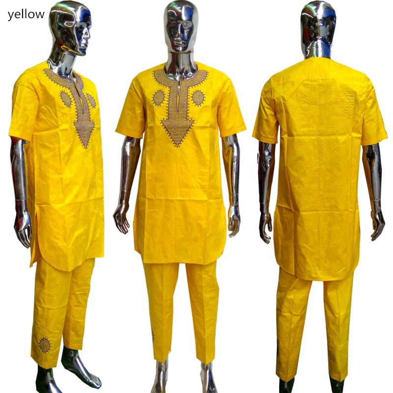 BAIBAZIN africain Dashiki hommes 100% coton Bazin tissu broderie artisanat hommes chemise et pantalon deux pièces costume