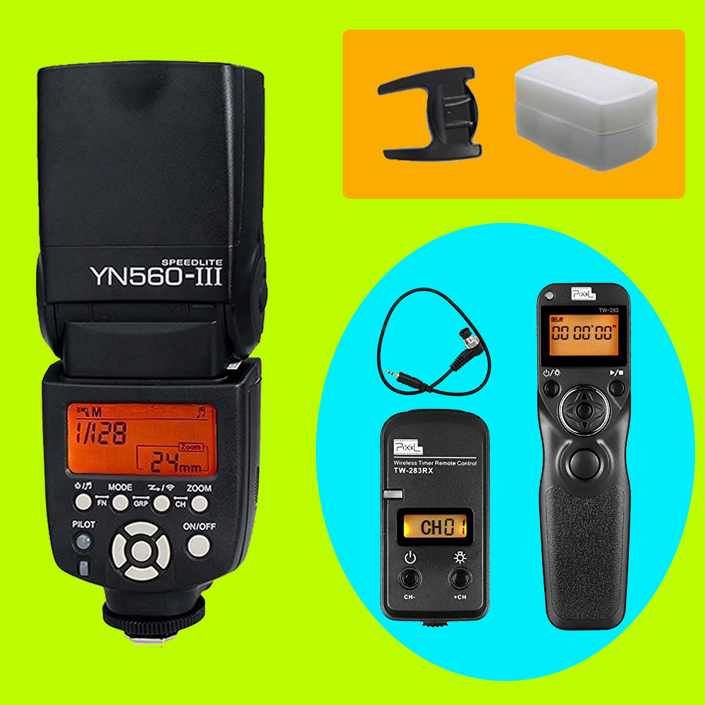 YONGNUO YN560 III YN-560 III Flash Speedlite & PIXEL TW-283 N3 Shutter Release For Canon 10D 20D 30D 40D 50D	5D3 5D2 1D 7D3 6D yn e3 rt ttl radio trigger speedlite transmitter as st e3 rt for canon 600ex rt new arrival